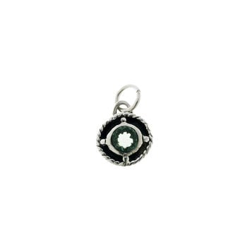 Kamon Sterling Silver And Green Quartz May Charm
