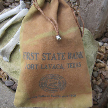 40s/50s Canvas Bank Bag // Vintage Texas Coin Bag // First State Bank Tote // Pouch
