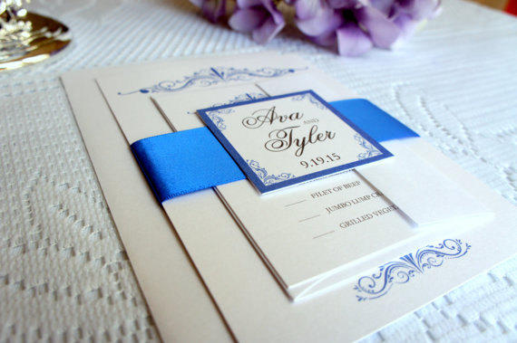 Royal Blue Wedding Invitation Simple from KraftWeddingPapers