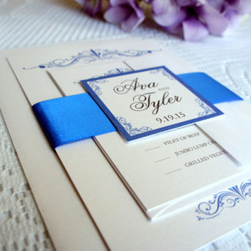 Royal Blue Wedding Invitation - Simple, Sophisticated, Elegant Wedding Invitation, Wedding Invites - SAMPLE SET
