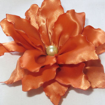 "Ginger  Lily Hair Clip 3 1/2"". Hair Flower. Satin Hair Flower. Ribbon Flower.Lily. Ginger Flower.Hair clip< child<adult. Hair Accessories"