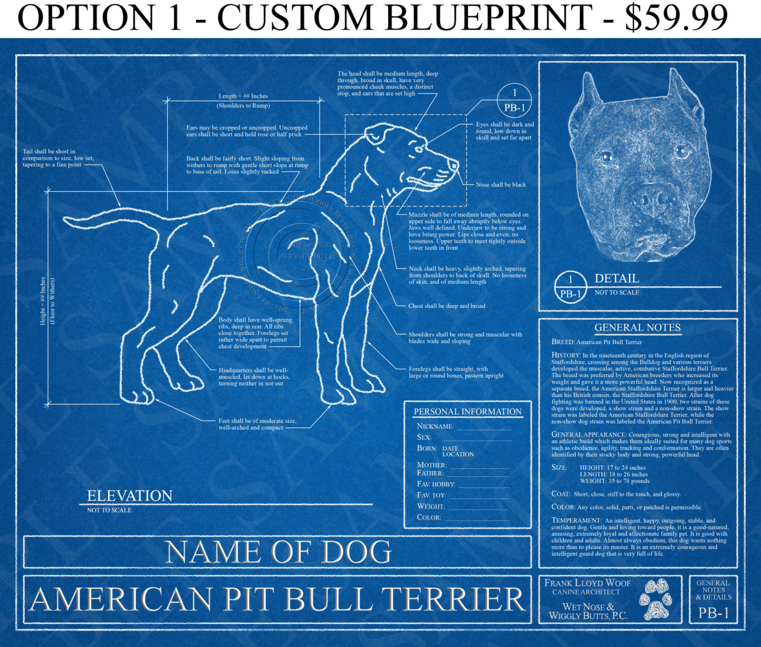 Pick your breed personalized dog from wet nose wiggly butts personalized american pit bull terrier blueprint pit bull art pit bull wall art malvernweather Images