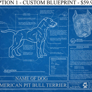 Personalized american pit bull terrier from wet nose wiggly personalized american pit bull terrier blueprint pit bull art pit bull wall art malvernweather Choice Image