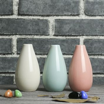 Smooth Ceramic Pottery Flower Pot Office Mini Vase Wedding Ornaments 3 Color