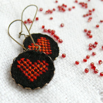 Cross stitch earrings Hearts Valentine's Day jewelry by skrynka