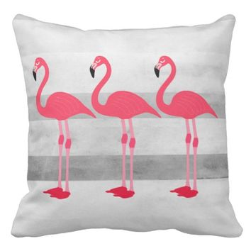 cute pink and gray flamingo design pillow