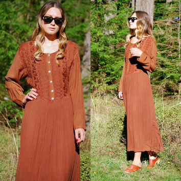 Embroidered Indian Dress, Brown Boho Long Sleeve Maxi Dress, Tie Back Rayon Caftan Hippie Dress, Button Front Plus Size Tunic Gauze Dress