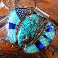 Sterling Silver Modernist Turquoise Pendant Slide, Dichroic Glass, Vintage