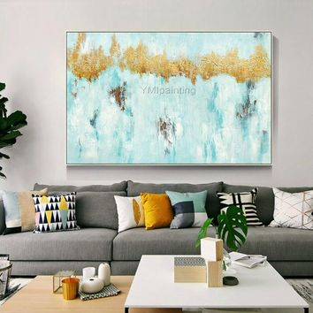 Gold art Acrylic canvas Painting original blue abstract Large size heavy texture nordic Wall Art Pictures for living room home decor cuadro