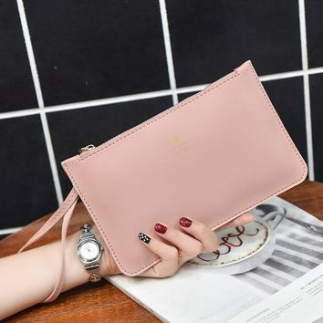 2017 New Summer Solid Color Organizer PU Leather Wallets And Purses Printing Zipper Brand Design Wristlets Clutch Bag Handbags