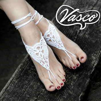 Crochet Barefoot Sandals. White Barefoot Sandals. Yoga Barefoot. Anklet Hippie Shoes. Gypsy Bellydance
