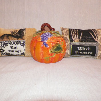Gothic Halloween Ornamental Mini Pillow Your Choice of One Witches Fingers or Bat Wings