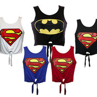 LADIES WOMENS SUPERMAN LOGO PRINTED CROP TOP TIE T SHIRT VEST TOP SIZE 8 10 12