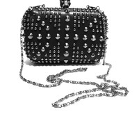 Spikes & Studded Union Clutch Bag In Black Leatherette/Gunmetal Spike & Studded | Thirteen Vintage