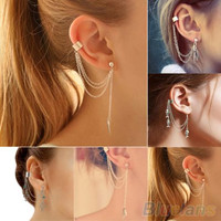 1PC Punk Silver Tassels Chain Leaf Fish Cross Charms Metallic Ear Wrap ear cuff earrings