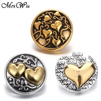 New Gold Snap Jewelry Vintage Love Heart Metal 18mm Snap Buttons Fit Snap Button Bracelet for Women Valentine's Day Gift