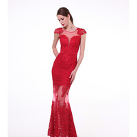 Red Embroidered Cap Sleeve Sheer Gown 2015 Prom Dresses