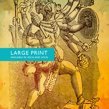 "Hindu God Hanuman Print Vintage Hindu Decor Wall Art- Giclee Print 18x24"" 24x36"" - Large Giclee Print on Cotton Canvas and Satin Paper"