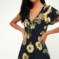 Cecily Navy Blue Floral Print Tie-Front Dress