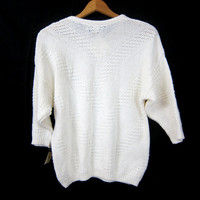 White Cotton Sweater Textured Knit Sweater 1980s Sweater Preppy Minimal Basic Jumper Sweater Top Women's Size Medium