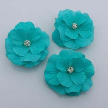 Set of 3, Bridesmaids Turquoise hair Flowers, Wedding Flowers, Bridal Turquoise Flowers, Flower Pins, Flower Shoe clips, Brooch