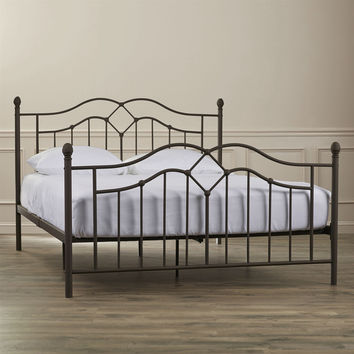 Full Size Modern Classic Metal Bed Frame In Brushed Bronze Finish With Headboard & Footboard