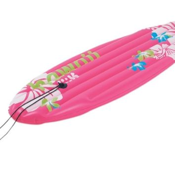 """59"""" Pink and White Inflatable Surfboard-Inspired """"Hawaii"""" Pool Float"""