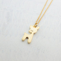 Gold Deer Necklace Gold necklace Tiny Charm necklace Cute necklace Animal necklace Bridesmaid Gift mom Birthday Gift best friend Birthday