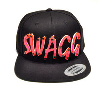 SWAGG Hot Pink Acrylic Letters Snapback in Black
