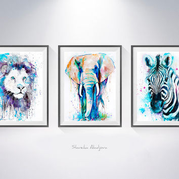 Buy two Get one FREE! Lion Zebra Elephant watercolor painting print, animal illustration, Zebra art,  lion art,  art print