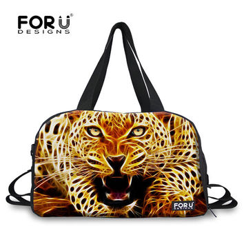 FORUDESIGNS Fashion Large Capacity Leopard Women Travel Bag Female Tote Travel Duffle Bags Weekend Luggage Bag Overnight Bags