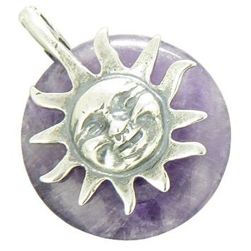 Positive Energy Happy Sun Good Luck Amulet Amethyst Pendant