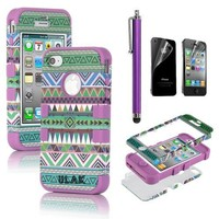 Pandamimi ULAK 3-Piece Hybrid High Impact Case Tribal Purple Silicone for iphone 4 4S +Screen Protector+Stylus