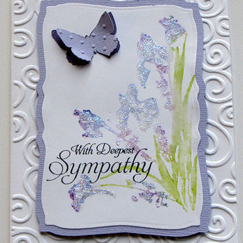 Elegant deepest sympathy, watercolor flower, butterfly, sympathy, glitter, embossed, white and lavender, custom, handmade, greeting card