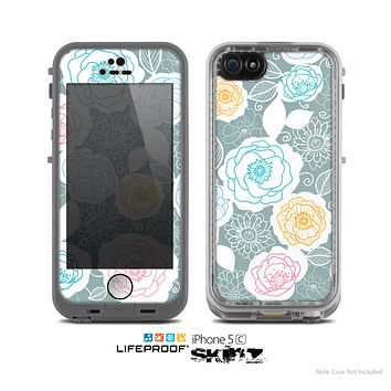 The Subtle Gray & White Floral Illustration Skin for the Apple iPhone 5c LifeProof Case