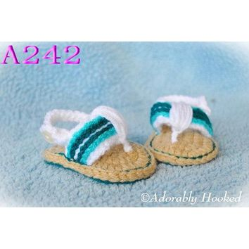Free shipping Crochet Baby Shoes, Baby boy Flip Flops, Crochet Baby Toddler shoes, Sizes 0-12 Months