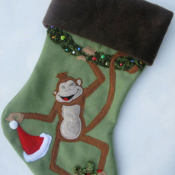 Personalized Christmas Stocking, Monkey Stocking, Baby boy's first Christmas stocking, Personalized,