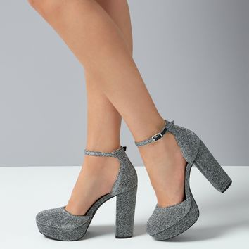 Silver Glitter Platform Court Shoes | New Look