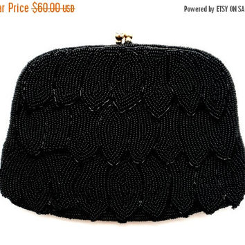 Sale Hand Beaded, Richere Purse, By Walborg, Black Glass, Vintage Purse, Evening Clutch Bag, Beaded Hand Bag, Vintage Handbag