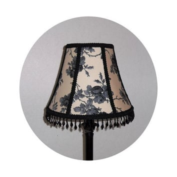 Shabby Chic Black Roses on Cream fabric ~ Lamp Shade by ToileChicBoutique