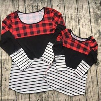 Preorder- Mommy and me buffalo Plaid and stripes top