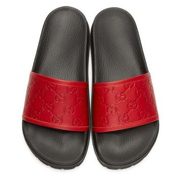 Gucci Trending Fashion men and women Stars Print Casual Sandal Slipper Shoes Red G