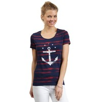 Distressed Stripe Anchor Tee