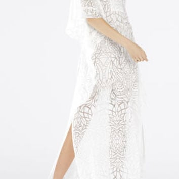 Dameka Ruffled Long Kaftan Dress - White