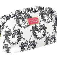 Betsey Johnson Large Ruffle Cosmetic Bag Bone