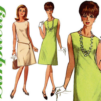 1960s Dress Pattern Bust 32 36 38 Simplicity 6541 Jiffy A Line Dress Day or Evening French Darts Sleeveless Womens Vintage Sewing Patterns