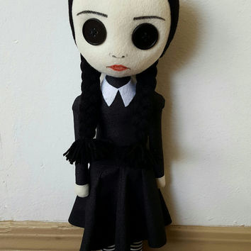 "MADE-TO-ORDER 22"" Tall Handmade Wednesday Addams Doll"