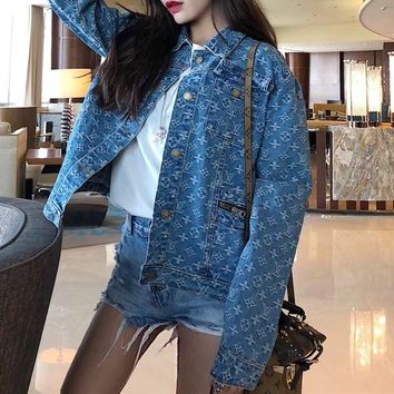 Louis Vuitton Fashion All-match Casual Cool Pattern Letter Buttons Print Long Sleeve Denim  Jacket