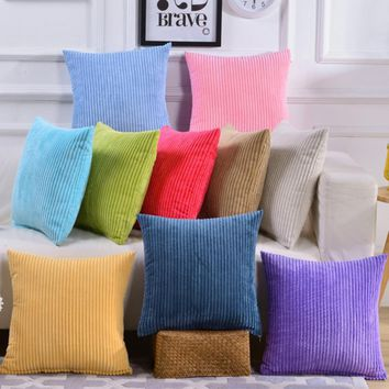 new Pillow case Square Throw Zipper Soft Pillowcase Corduroy Solid Home Corduroy office lumbar support chair pillow cushion#1010