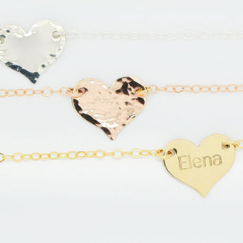 Gold Heart Necklace Personalized, Delicate Heart Necklace, Initial Necklace, Name Necklace Heart, Engraved Heart